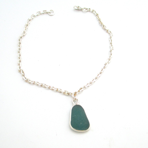 teal sea glass anklet 1