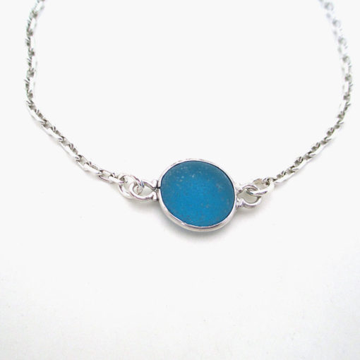 turquoise sea glass anklet