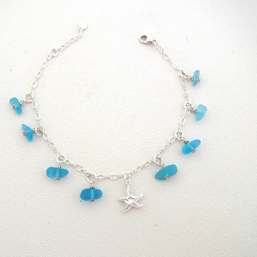 turquoise sea glass anklet 1