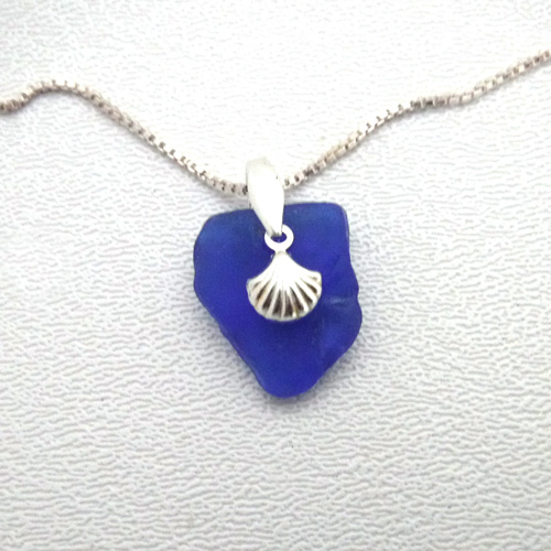 cobalt blue sea glass necklace with seashell 1