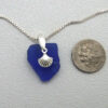 cobalt blue sea glass necklace with shell 1