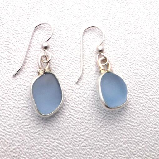 blue sea glass earrins