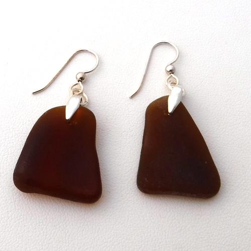 brown sea glass earrings 1