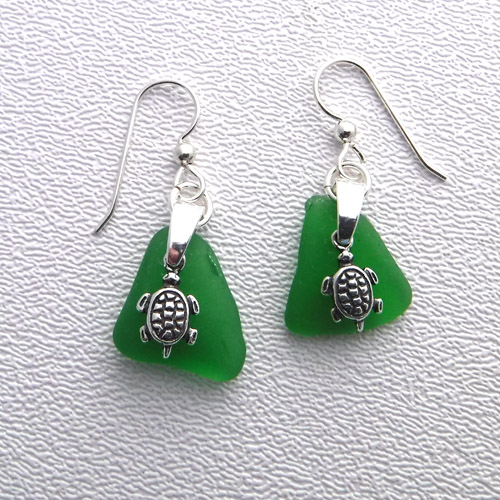 green earrings with turtles 1