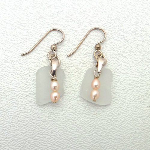 white sea glass earrings with pink pearls 1