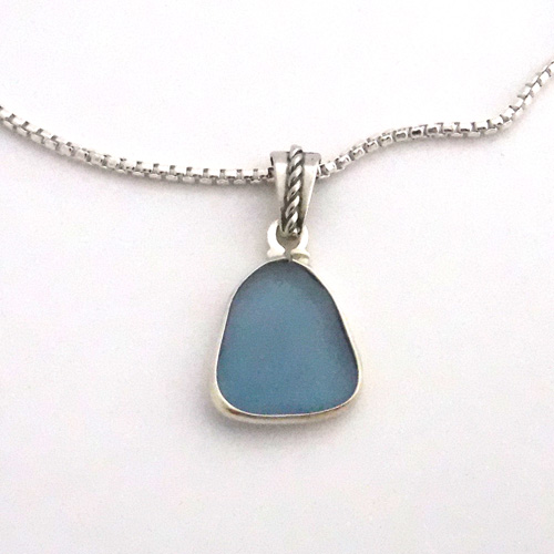 cornflower blue sea glass necklace 1