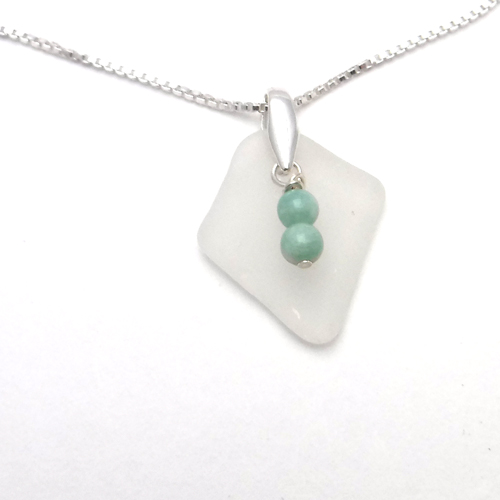 white sea glass necklace 1