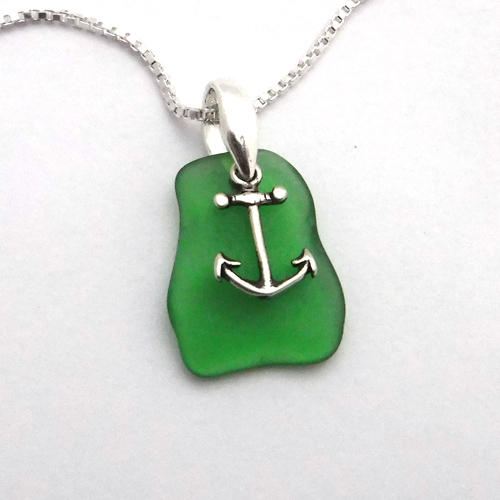 jade green sea glass necklace with anchor 1