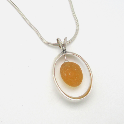 Sunny yellow sea glass necklace