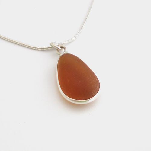 honey sea glass necklace