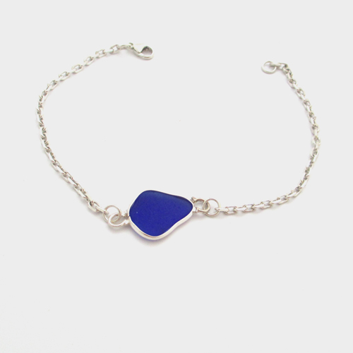 cobalt blue sea glass anklet 2