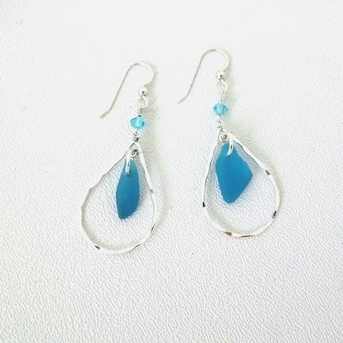 turquoise sea glass earrig1