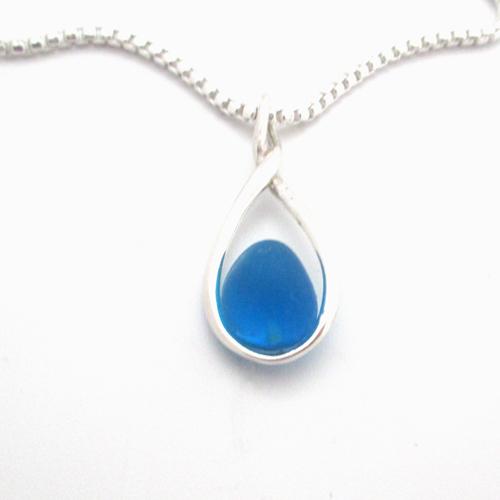 turquoise sea glass figure 8 necklace 1
