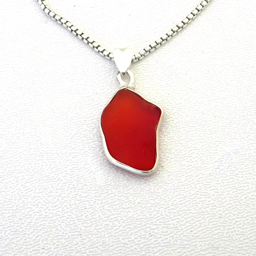 red sea glass necklace 1