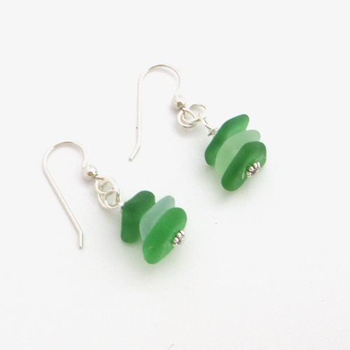 sea glass stacked green earrings 1