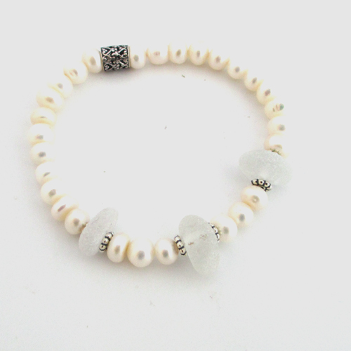 White Sea Glass Wedding Bracelet