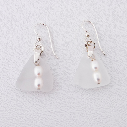 white sea glass earrings 1