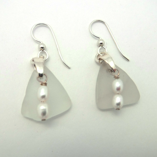 white sea glass earrings with pearls 1