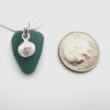teal sea glass necklace with seashell charm