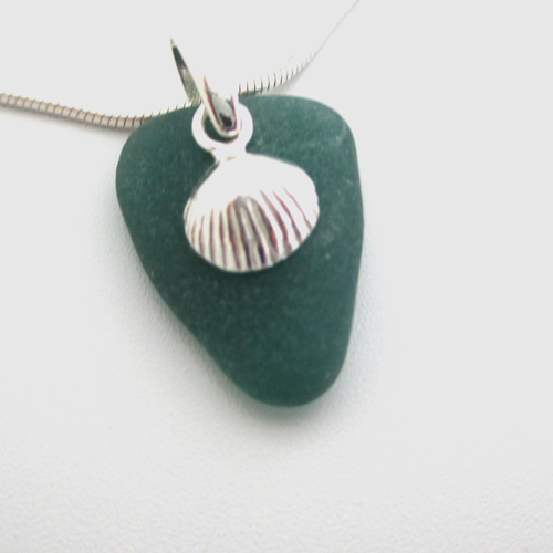 teal sea glass necklace with shell