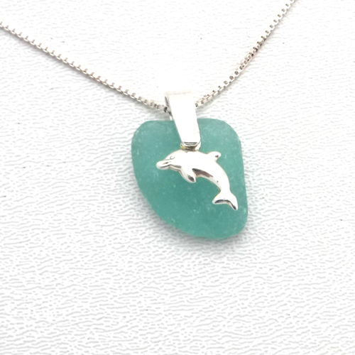 turquoise sea glass necklace with dolphin 1
