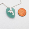 turquoise sea glass necklace with dolphin 3