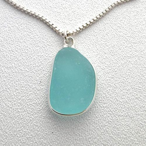 aqua sea glass necklace 1