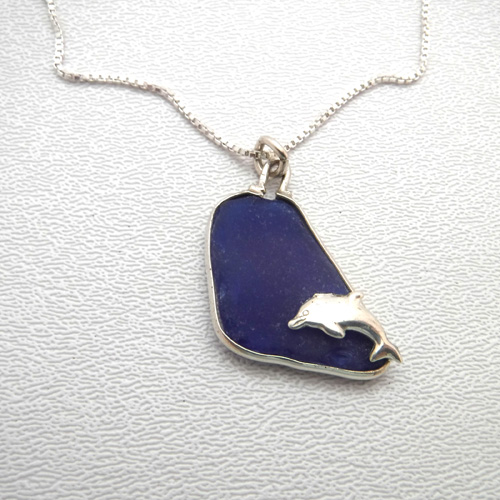 cobalt blue sea glass necklace with dolphin 1