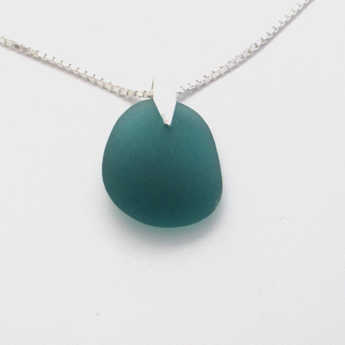 teal sea glass necklace1