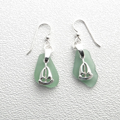 green earrings with sailboats 1