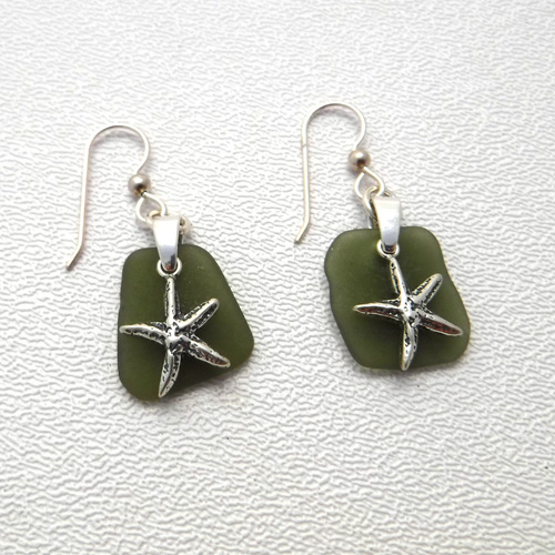 sage green sea glass earrings 1