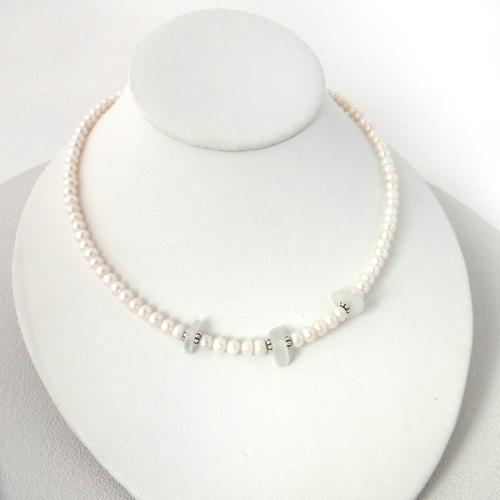 white pearl sea glass necklace 1