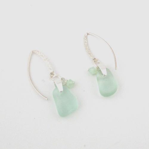 lime green sea glass earrings2