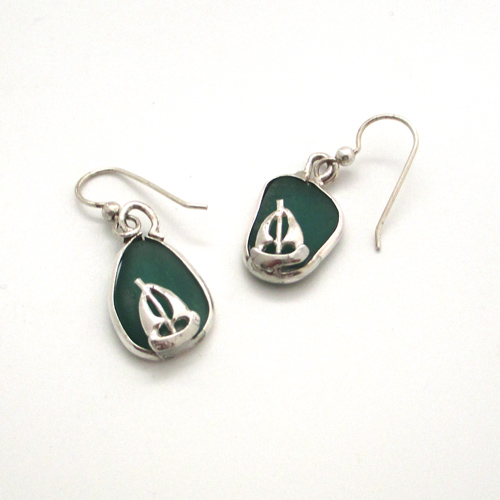 teal green sea glass earrings with sailboats 1