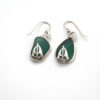 teal sea glass earrings with sailboats 1