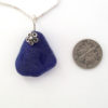 cobalt blue sea glass necklace with flower 5