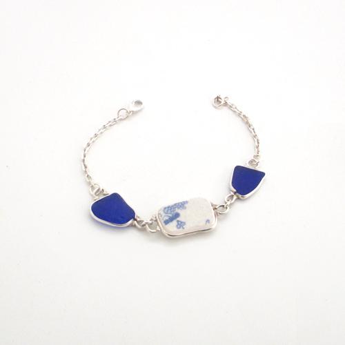 pottery and sea glass bracelet 1