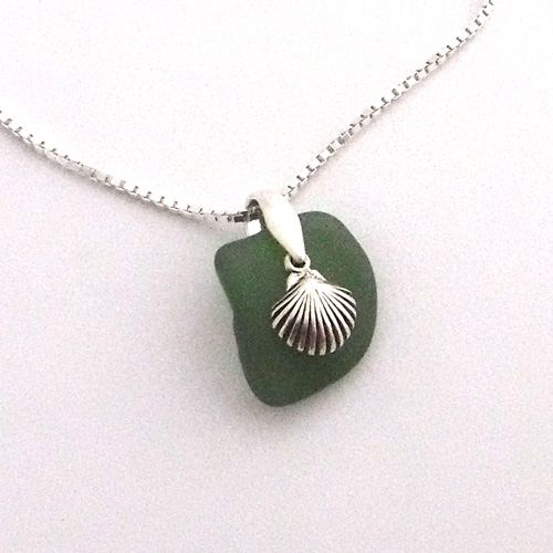 green sea glass necklace with shell 1