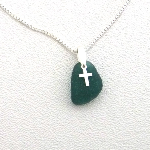 teal sea glass necklace with cross 1