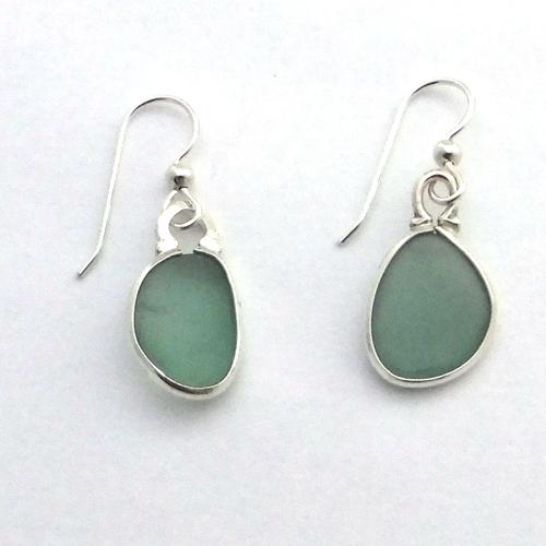 sage green sea glass earrings 1