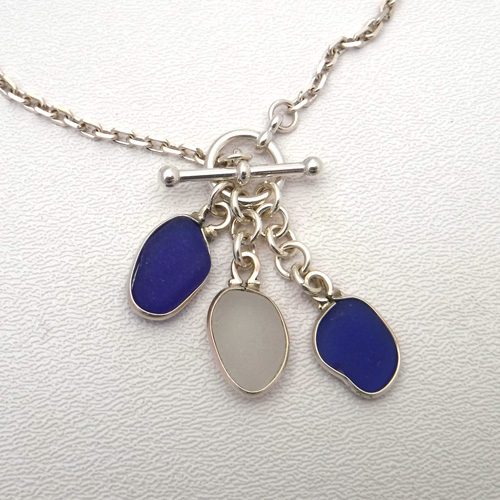blue and white sea glass necklace 1