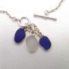 blue and white sea glass necklace 3