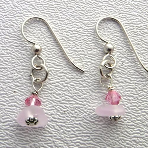 pink sea glass earrings 1