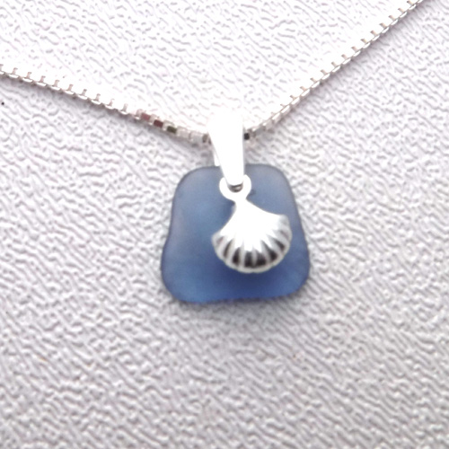 cornflower blue sea glass necklace with shell 1