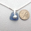 cornflower blue sea glass necklace with shell 3