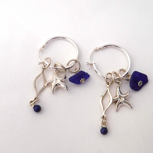 cobalt blue sea glass earrings 3
