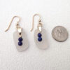 white sea glass earrings with lapis beads 3