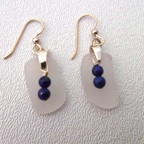 white seaa glass earrings with lapis beads 1