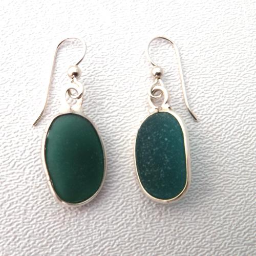 teal sea glass earrings 1