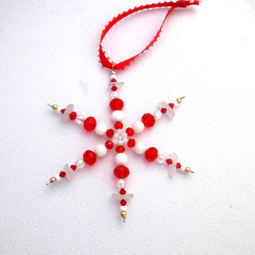 red snaowflake ornament 1